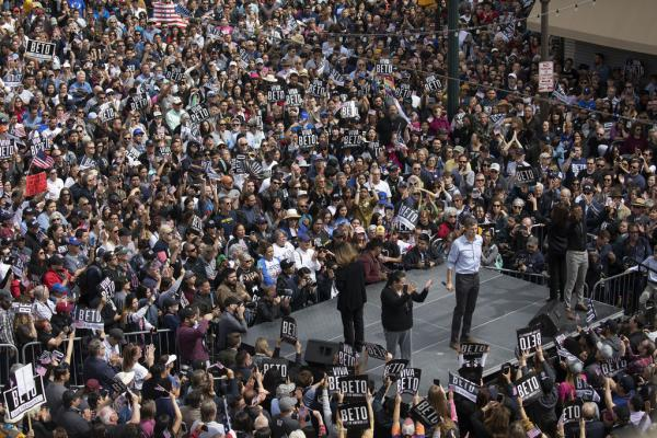 Beto O'Rourke addresses thousands of supporters at his campaign kick-off rally in El Paso on Saturday.