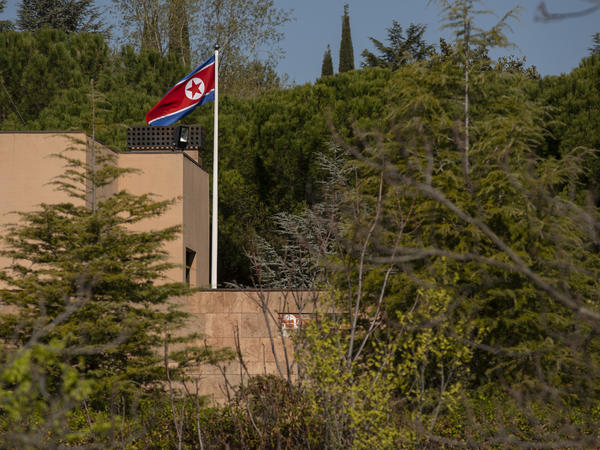 The North Korean flag is flown at Madrid's North Korean embassy, which was was raided in February.