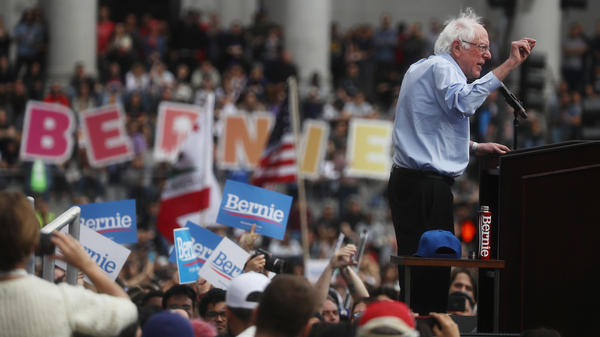 Democratic presidential candidate Sen. Bernie Sanders, I-Vt., speaks at a campaign rally in Los Angeles on March 23. His campaign reported on Tuesday that it raised $18.2 million through the end of the first quarter of the year.