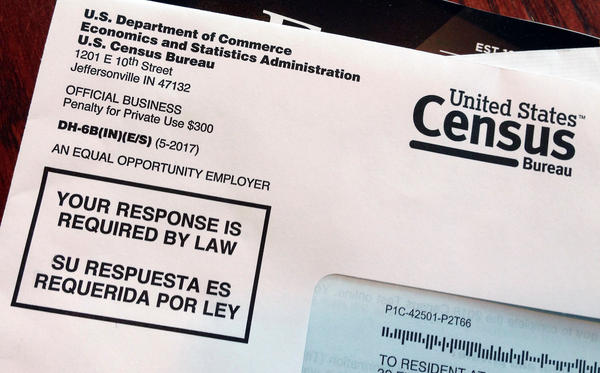 An envelope containing a 2018 census letter mailed to a U.S. resident as part of the nation's only test run of the 2020 Census.