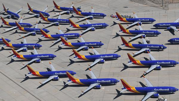 Southwest Airlines Boeing 737 Max aircraft are parked at a Southern California airport after the aircraft was grounded by the FAA.