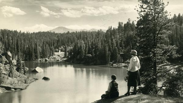 """A view of Pikes Peak from the Carroll Lakes, circa 1925. Katharine Lee Bates' trip up the Colorado mountain inspired her poem """"America,"""" later to become the song """"America the Beautiful."""""""