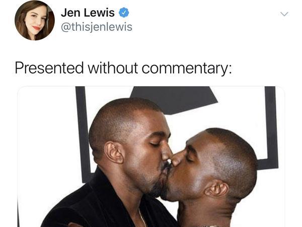 A screenshot of Jen Lewis' original famous image: Kanye kissing Kanye.