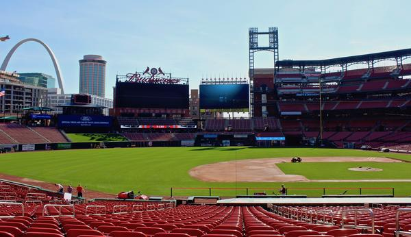 The grounds crew works on the field at Busch Stadium on March 27, 2019.