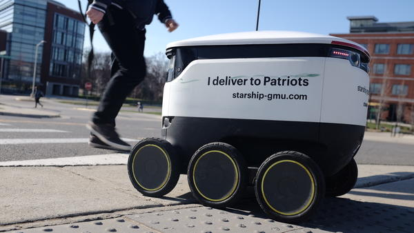 At George Mason University in Virginia, a fleet of several dozen autonomous robots deliver food to students on campus.