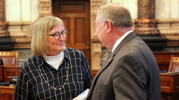 Sen. Molly Baumgardner, left, was the Senate's lead negotiator on the school funding agreement.