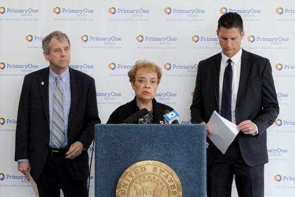Sen. Sherrod Brown (D-Ohio), former state Sen. Charleta Tavares, and Columbus Attorney Zach Klein at a press conference about the Affordable Care Act.