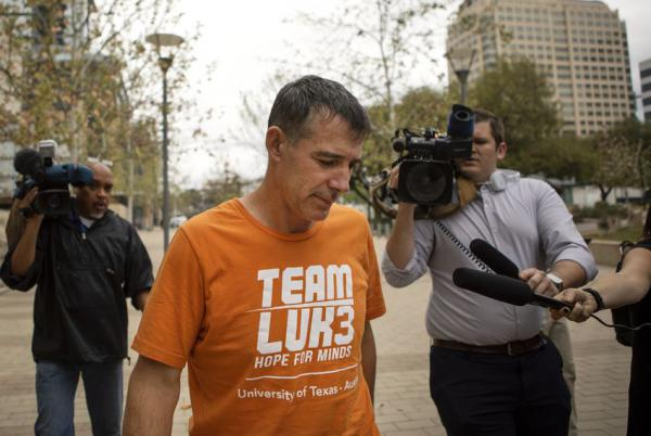 Michael Center outside the federal courthouse in Austin after a pre-trial hearing on March 12.
