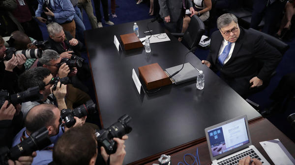 Attorney General William Barr arrives to testify about the Justice Department's FY 2020 budget request before a subcommittee of the House Appropriations Committee on Tuesday.