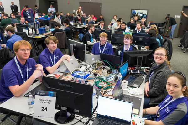 Kansas State University's Cyber Defense Club took second place at the U.S. Department of Energy's national competition. Club president BreAnn Anshutz is seated second from the right.