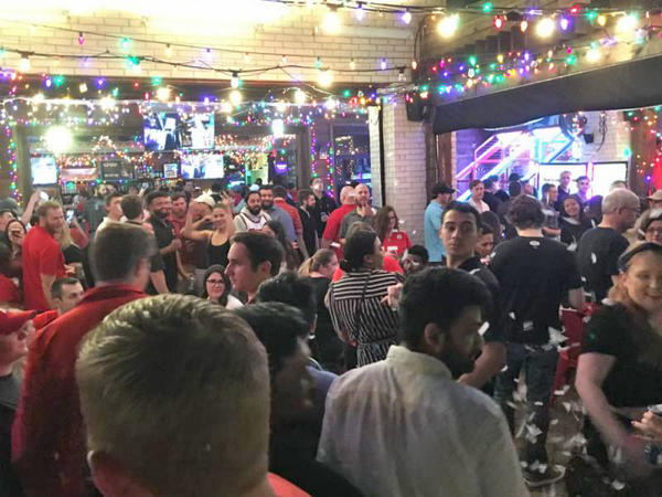 A packed High Fives sports bar in Dallas