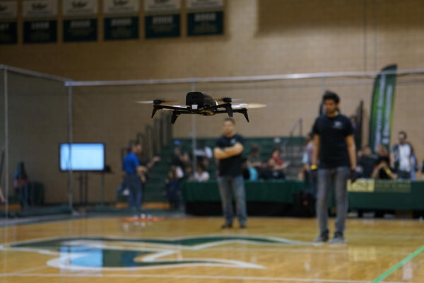 A drone controlled by a pilot's brain flies during USF's first ever Brain-Drone Races.