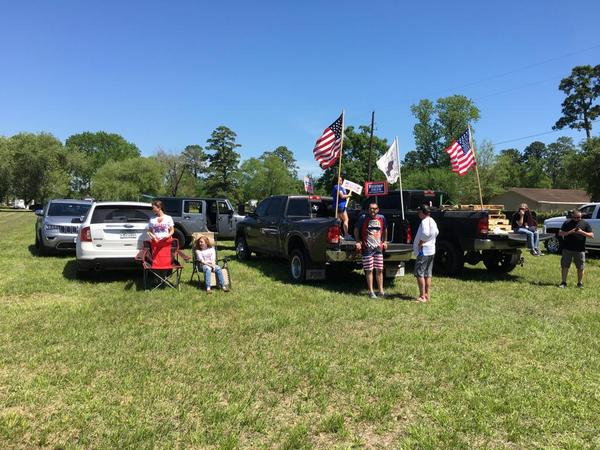 Some Crosby residents displayed American flags to greet President Donald Trump.