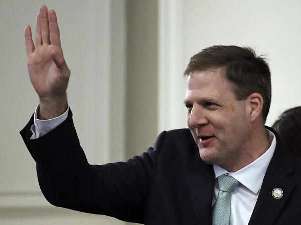 Republican Gov. Chris Sununu waves during his inauguration ceremony at the State House in Concord, N.H., this January.