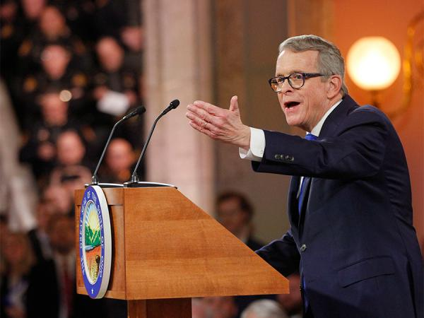 Ohio Governor Mike DeWine speaks during a public inauguration ceremony at the Ohio Statehouse, Monday, Jan. 14, 2019, in Columbus.