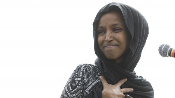 Rep. Ilhan Omar, D-Minn., attends a Youth Climate Strike on March 15 in Washington. On Thursday, the <em>New York Post</em> drew criticism after featuring a partial quote by Omar with an image from the Sept. 11, 2001, terrorist attacks.