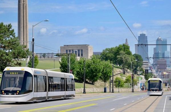 A rendering shows a streetcar bound for UMKC leaving downtown on Main Street.