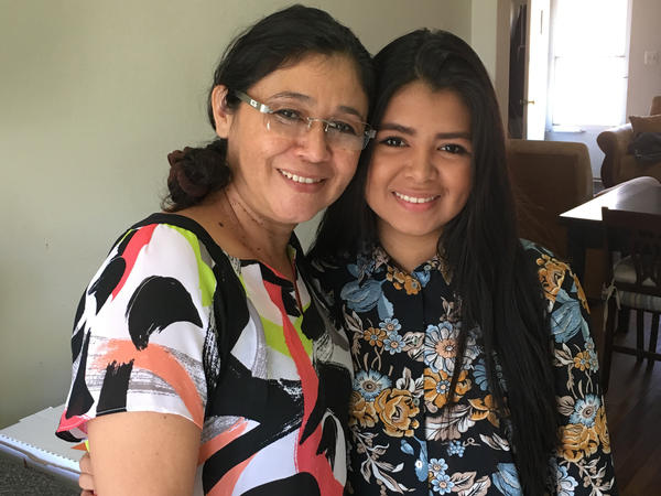 Ana Garcia (left) and her daughter Genesis Amaya of Valley Stream, N.Y., were reunited through the Central American Minors program in 2016 before President Trump terminated the program.