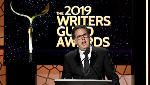 Writers Guild of America West President David Goodman speaks in Los Angeles at the 2019 union award ceremony. The WGA instructed is writers to fire their agents on Friday.