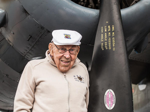 """Dick Cole at 103 with the B-25 """"Grumpy"""" at the Oregon International Airshow in Sept. 2018."""