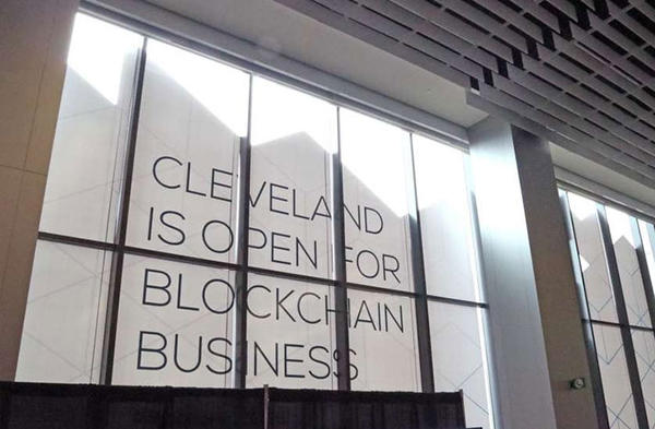 A window display at the Blockland Solutions Conference in Cleveland this past December.