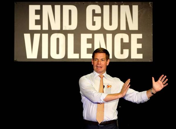 California Congressman Eric Swalwell said on Tuesday he would make addressing gun violence a top priority during his presidential campaign.