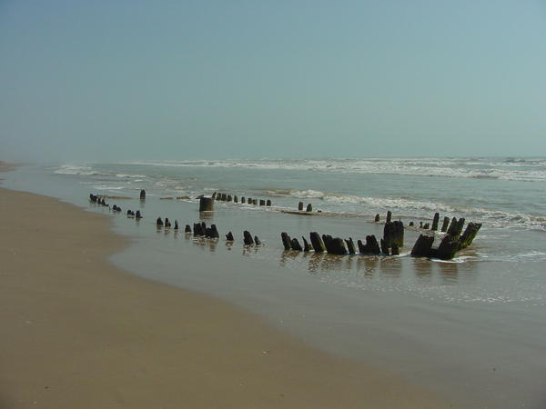 Boca Chica Shipwreck Number 2, emerging from the sand in 2002