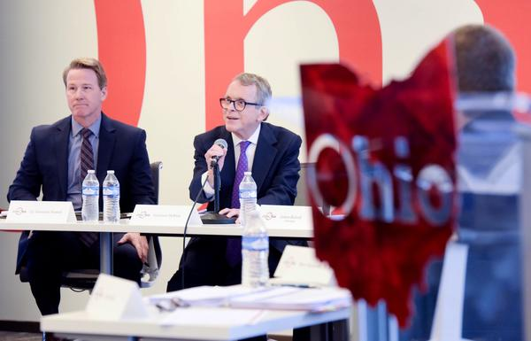 Lt. Gov. Jon Husted and Gov. Mike DeWine spoke at a JobsOhio board meeting in March.