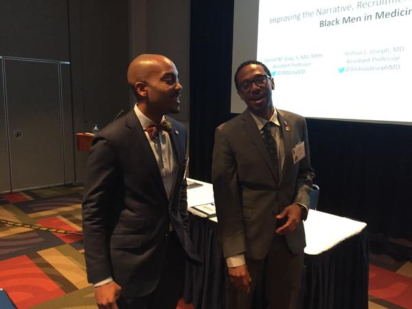 Drs. Darrell Gray (left) and Joshua Johnson from Ohio State University spoke about the importance of bringing Black men into medicine during the annual Black Male Conference in Akron.