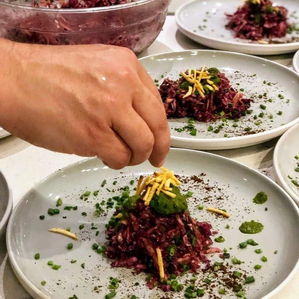Red Cabbage Picklez with Indian Chaat Masala prepared by chefs Matthew Webb and Anita Sharma.