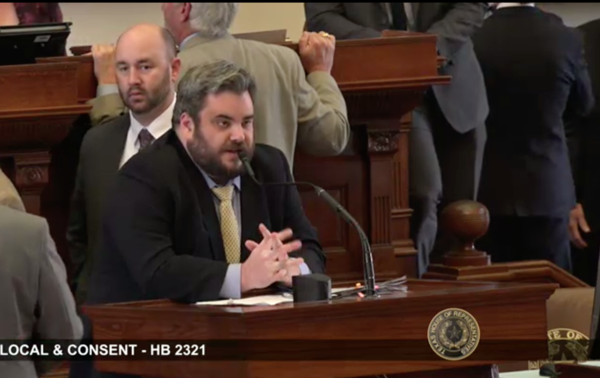 Rep. Jonathan Stickland, a Republican from Bedford, testifying against House Bill 906 on April 12, 2019.
