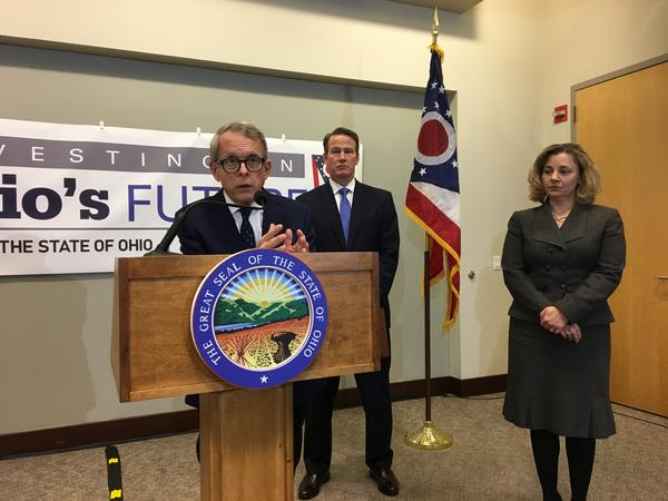 Gov. Mike DeWine unveiled his budget with Lt. Gov. Jon Husted and OBM Director Kimberly Murnieks on March 15, 2019.