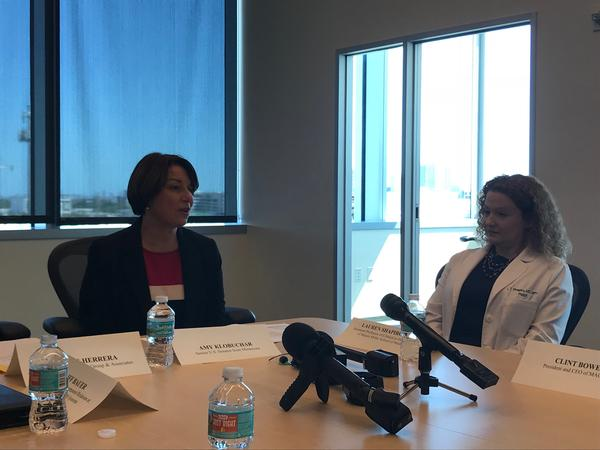 Sen. Amy Klobuchar of Minnesota, a Democratic presidential candidate, on Tuesday held separate meetings in South Florida with Venezuelan exiles and healthcare professionals.