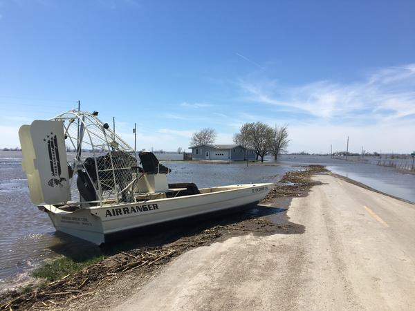 One farmer is using this airboat to get to his fields near Langdon, Missouri, where flooding in mid-March caused extensive flooding from the Dakotas south to Missouri.