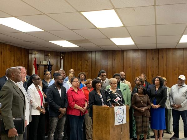 St. Louis County Councilwoman Hazel Erby, D-University City, and other political leaders announce their oposition to the St. Louis County NAACP endorsement of the Better Together city-county merger proposal.