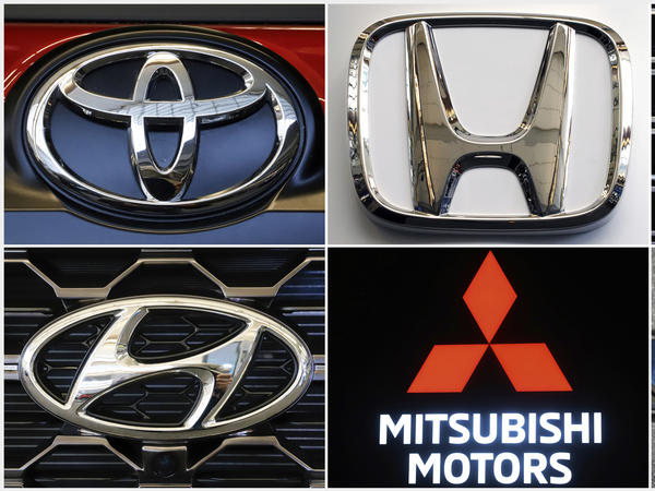 This combination of photos shows clockwise from top left the logos for Toyota, Honda, Kia, Fiat Chrysler, Mitsubishi and Hyundai. U.S. auto safety regulators have expanded an investigation into malfunctioning air bag controls to include 12.3 million vehicles because the bags may not inflate in a crash.