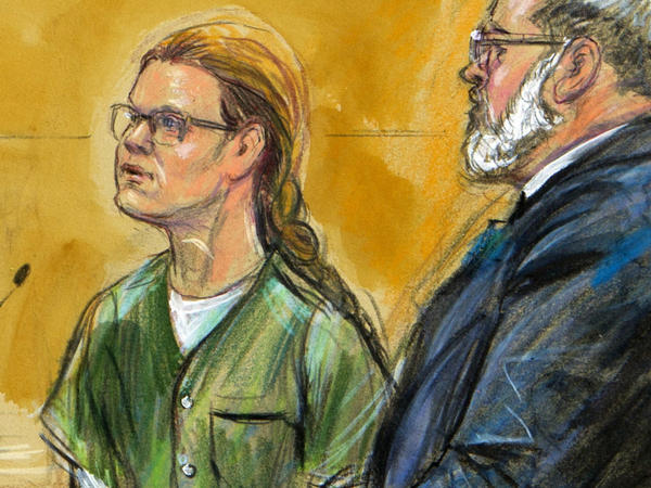 In this courtroom sketch, Maria Butina is shown next to her attorney Robert Driscoll, before U.S. District Judge Tanya Chutkan, during a hearing in December.