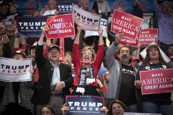 Supporters of then-presidential candidate Donald Trump cheer during a campaign rally, Thursday, Oct. 13, 2016, in Cincinnati.
