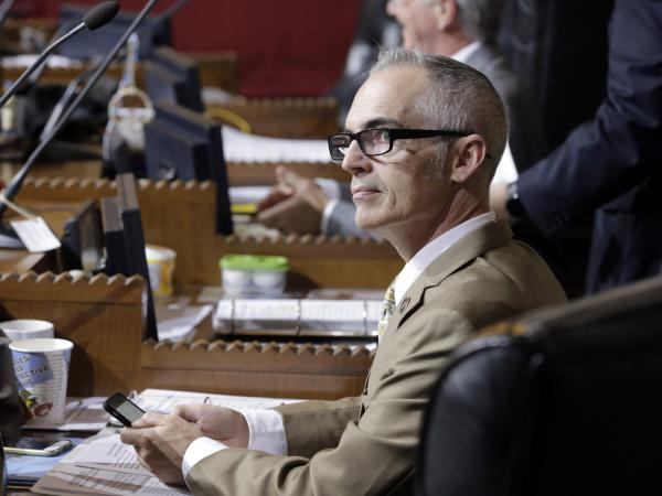 Los Angeles City Councilman Mitch O'Farrell, seen in Council Chambers in 2015, originally introduced the measure that requires city contractors to fully disclose any sponsorship of, or contract with, the NRA. The gun rights group is challenging the ordinance.