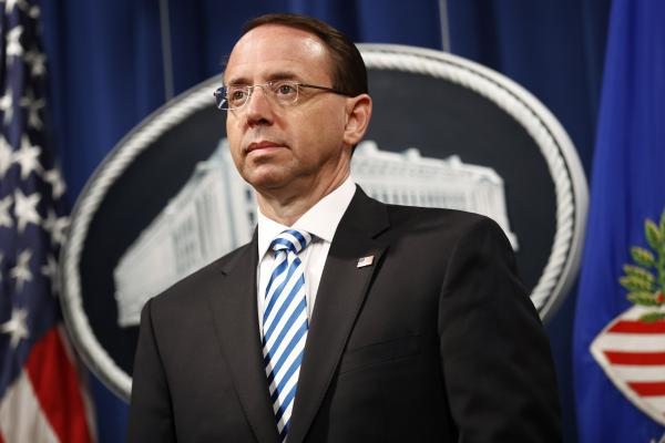 Deputy Attorney General Rod Rosenstein attends a news conference about the release of a redacted version of special counsel Robert Mueller's report on April 18. Rosenstein says the report does not cover all of Russia's attempts to influence U.S. elections.