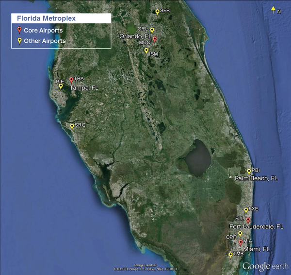 "This map shows the airports involved in the FAA's ""Metroplex"" proposal for Florida."