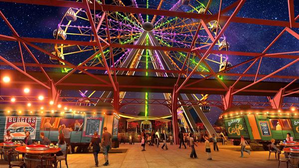 Architectural Illustration of the St. Louis Wheel, which will be built at the Union Station entertainment complex.