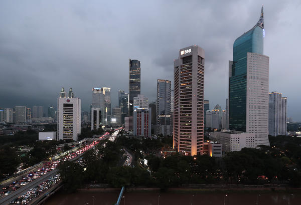 The central business district skyline is seen at dusk on Monday in Jakarta, Indonesia.