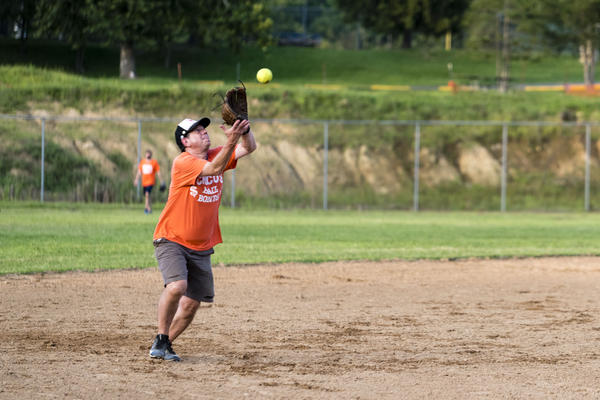 Jim Antonini, an occupational health science researcher, fields a ball at shortstop for Chico's Bail Bonds. As team captain, Antonini is in charge of the always-entertaining game write-ups that recap the misery suffered by the Morgantown softball team.