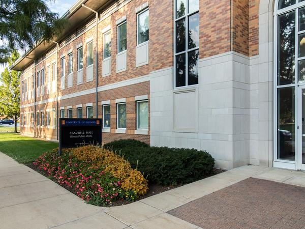 Illinois Public Media broadcasts out of Campbell Hall on the University of Illinois campus