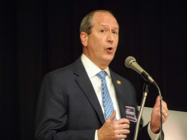 Dan Bishop speaks during Tuesday's Republican 9th Congressional District forum.