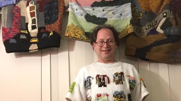 Barsky gets meta in a sweater of his handmade sweaters.