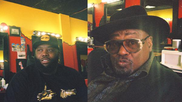 Killer Mike (left) and George Clinton met up in The SWAG Shop, the barbershop Killer Mike owns in Atlanta.