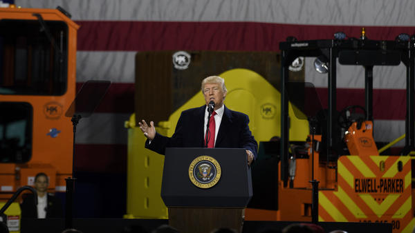 President Trump speaks to supporters at a rally at H&K Equipment, a rental and sales company that serves manufacturers, earlier this year in Coraopolis, Pa.