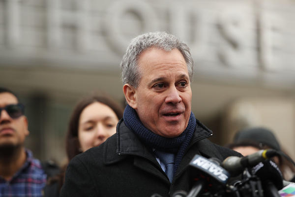 New York Attorney General Eric Schneiderman speaks at a news conference after a DACA hearing at a Brooklyn court on Jan. 30. New York state is leading a group of 17 states in a lawsuit to try to remove a new citizenship question from the 2020 census questionnaire.